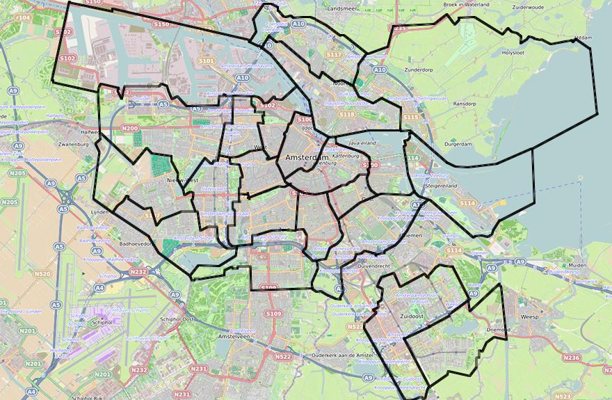 Deelgebieden Amsterdam